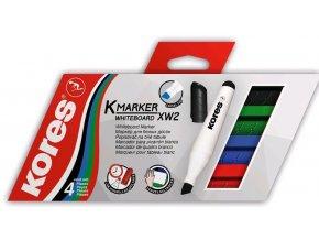 Popisovač bílá tabule Kores K-marker 3-5mm  /4ks sada barev