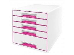 Zboží na objednávku - Zásuvkový box Leitz WOW 5 zásuvek 52142023 růžový