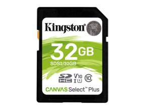 Kingston paměťová karta Canvas Select Plus, 32GB, SDHC, SDC2/32GB, UHS-I U3 (Class 10), A1