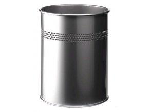 Odpadkový koš METAL ROUND 15 P/30 Durable 3300 stříbrná