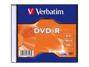 Disk DVD-R,4,7 GB Matte Silver, 16x Verbatim , slim box