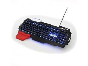 Klávesnice RED FIGHTER K2 USB CZ podsvícená 3-barevná, výměnná područka, stojánek na mobil