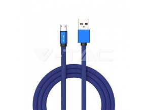 1M Micro USB 2.4A -  Cotton fabric cable, Ruby series, blue color, VT-5342, 3800157647489
