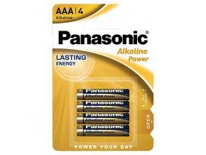 Baterie alkalická, AAA, 1.5V, Panasonic, blistr, 4-pack, Alkaline power