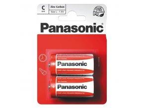 Baterie zinkouhlíková, malý monočlánek, C, 1.5V, Panasonic, blistr, 2-pack