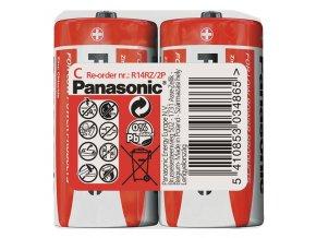 Baterie zinkouhlíková, malý monočlánek, C, 1.5V, Panasonic, folie, 2-pack