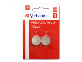 Baterie lithiová, CR2025, 3V, Verbatim, blistr, 2-pack, 49935