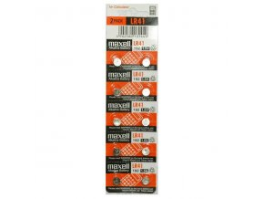 Baterie alkalická, LR41, AG3, 1.5V, Maxell, blistr, 10-pack