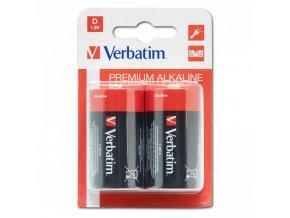 Baterie alkalická, velký monočlánek, D, 1.5V, Verbatim, blistr, 2-pack, 49923, velký monočlánek