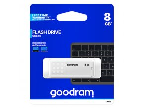 Goodram USB flash disk, USB 2.0, 8GB, UME2, bílý, UME2-0080W0R11, USB A, s krytkou
