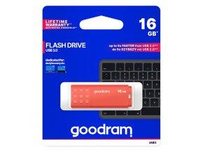 Goodram USB flash disk, USB 3.0 (3.2 Gen 1), 16GB, UME3, oranžový, UME3-0160O0R11, USB A, s krytkou