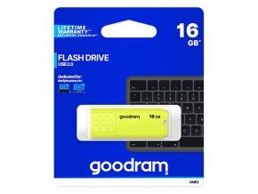 Goodram USB flash disk, USB 2.0, 16GB, UME2, žlutý, UME2-0160Y0R11, USB A, s krytkou