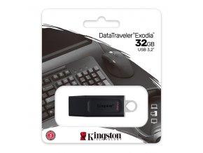 Kingston USB flash disk, USB 3.0 (3.2 Gen 1), 32GB, DataTraveler Exodia, černý, DTX/32GB, USB A, s krytkou
