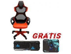Herní židle E-Blue COBRA AIR, červené, prodyšná záda, + herní sada Polygon