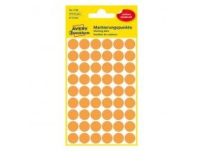 Avery Zweckform etikety 12mm, oranžové, 54 etiket, pro ruční popis, baleno po 5 ks
