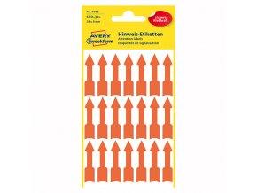 Avery Zweckform etikety 39mm x 9mm, oranžové, 21 etiket, varovné, šipka, baleno po 3 ks, 3008, pro ruční popis
