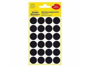 Avery Zweckform etikety 18mm, černé, 24 etiket, značkovací, baleno po 4 ks, 3003, pro ruční popis