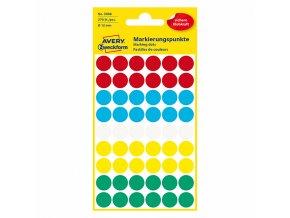 Avery Zweckform etikety 12mm, barevné, 54 etiket, značkovací, baleno po 5 ks, 3088, pro ruční popis