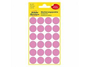 Avery Zweckform etikety 18mm, růžové, 24 etiket, značkovací, baleno po 4 ks, 3117, pro ruční popis