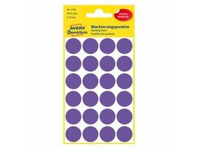 Avery Zweckform etikety 18mm, fialové, 24 etiket, značkovací, baleno po 4 ks, 3118, pro ruční popis