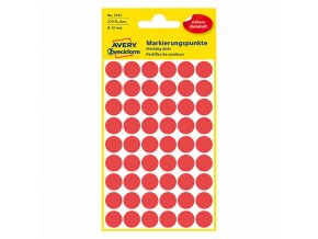 Avery Zweckform etikety 12mm, červené, 54 etiket, značkovací, baleno po 5 ks, 3141, pro ruční popis