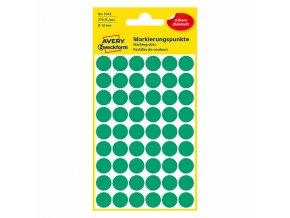 Avery Zweckform etikety 12mm, zelené, 54 etiket, značkovací, baleno po 5 ks, 3143, pro ruční popis