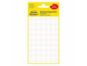 Avery Zweckform etikety 12mm, bílé, 54 etiket, značkovací, baleno po 5 ks, 3145, pro ruční popis