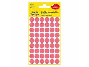 Avery Zweckform etikety 12mm, neon červené, 54 etiket, značkovací, baleno po 5 ks, 3147, pro ruční popis