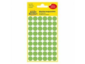 Avery Zweckform etikety 12mm, neon zelené, 54 etiket, značkovací, baleno po 5 ks, 3149, pro ruční popis