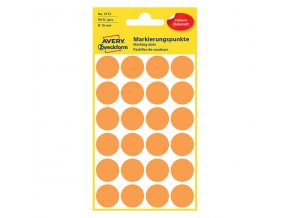 Avery Zweckform etikety 18mm, neon oranžová, 24 etiket, značkovací, baleno po 4 ks, 3173, pro ruční popis