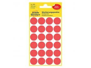 Avery Zweckform etikety 18mm, červené, 24 etiket, značkovací, snímatelné, baleno po 4 ks, 3595, pro ruční popis