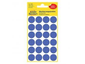 Avery Zweckform etikety 18mm, modré, 24 etiket, značkovací, snímatelné, baleno po 4 ks, 3596, pro ruční popis