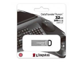 Kingston USB flash disk, USB 3.0 (3.2 Gen 1), 32GB, DataTraveler(R) Kyson, stříbrný, DTKN/32GB, USB A, s poutkem