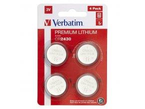 Baterie lithiová, CR2430, 3V, Verbatim, blistr, 4-pack, 49534