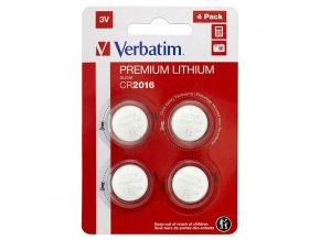 Baterie lithiová, CR2016, 3V, Verbatim, blistr, 4-pack, 49531