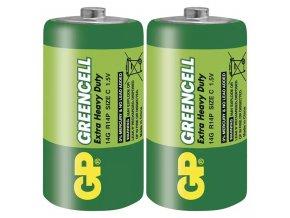 Baterie zinkochloridová, malý monočlánek, C, 1.5V, GP, fólie, 2-pack, Greencell