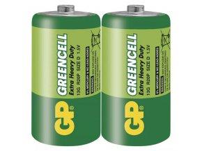 Baterie zinkochloridová, velký monočlánek, D, 1.5V, GP, fólie, 2-pack, Greencell