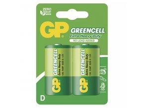 Baterie zinkochloridová, velký monočlánek, D, 1.5V, GP, blistr, 2-pack, Greencell