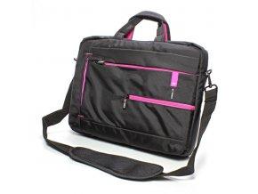 """Taška na notebook 15,6"""", černá s růžovými prvky z nylonu, NT006 typ Crown"""