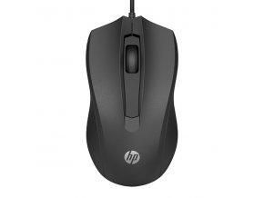 HP myš 100 1600DPI, optická, 3tl., 1 kolečko, drátová USB-A, černá, 1 ks Windows 7,8,10, Mac 10.1 a vyšší
