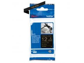Brother originální páska do tiskárny štítků, Brother, TZE-R334, zlatý tisk/černý podklad, textilní, 4m, 12mm