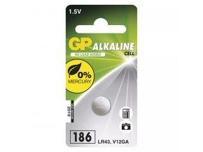Baterie alkalická, LR43, 1.5V, GP, blistr, 1-pack