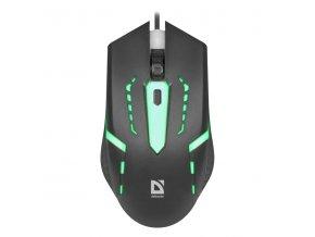 Defender Myš Hit MB-601, 1200DPI, optická, 4tl., 1 kolečko, drátová USB, černá, herní, podsvícená