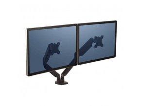 """Polohovatelný držák pro 2 monitory Platinum, 9 kg, svorka nebo průvlak, 27"""", 75x75/100x100, černý"""