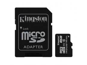 Kingston Micro Secure Digital card, 8GB, micro SDHC, SDCIT/8GB, UHS-I U1 (Class 10), s adaptérem
