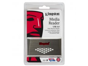 Čtečka Kingston paměťových karet USB (3.0), externí, šedo-bílá