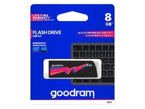 Goodram USB flash disk, USB 3.0 (3.2 Gen 1), 8GB, UCL3, černý, UCL3-0080K0R11, USB A, s výsuvným konektorem