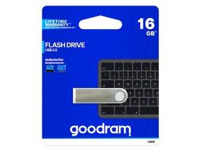 Goodram USB flash disk, USB 2.0, 16GB, UUN2, stříbrný, UUN2-0160S0R11, USB A, s poutkem