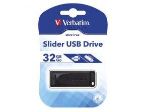 Verbatim USB flash disk, USB 2.0, 32GB, Slider, černý, 98697, USB A, s výsuvným konektorem