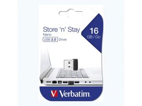 Verbatim USB flash disk, USB 2.0, 16GB, Nano, Store N Stay, černý, 97464, USB A